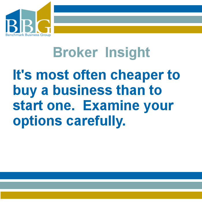 It's most often cheaper to buy a business than to start one. Examine your options carefully.